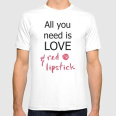 All you need is LOVE & red lipstick SMALL White Mens Fitted Tee
