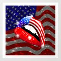 USA Flag Lipstick on Sensual Lips Art Print