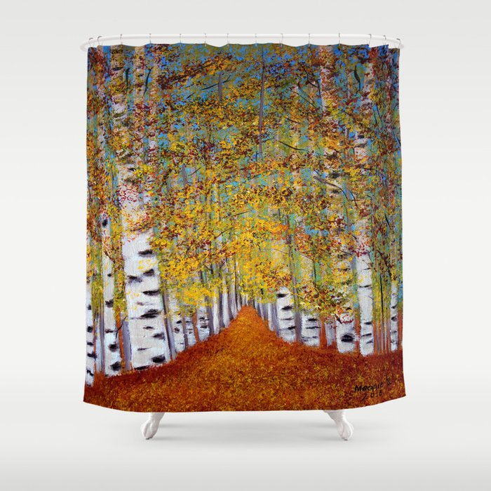 Birch trees shower curtain by maggs326 society6