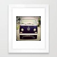 Blue VW Bus Framed Art Print