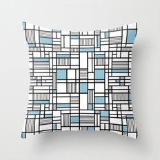 Map Lines Sky Blue Throw Pillow