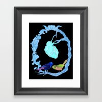 Two birds and a heart Framed Art Print