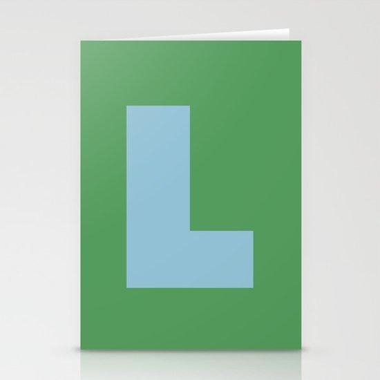 Light Blue L Stationery Card