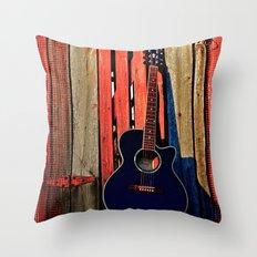 Guitar Sunset Throw Pillow