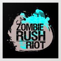 Zombie Rush: Riot Art Print