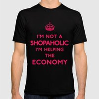 I'm not a shopaholic I'm helping the Economy Keep Calm Mens Fitted Tee Black SMALL
