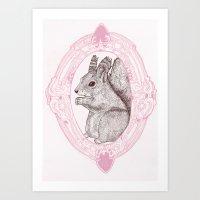 Cameo Squirrel Art Print