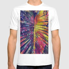 Blue Palm Triptych #2 (Middle) Mens Fitted Tee White SMALL