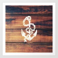 Vintage Nautical Anchor White on Brown Wood Grain Art Print