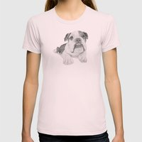 A Bulldog Puppy Womens Fitted Tee Light Pink SMALL