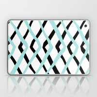 Pattern, turquoise and black Laptop & iPad Skin