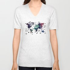 Oceans Life World Map  Unisex V-Neck