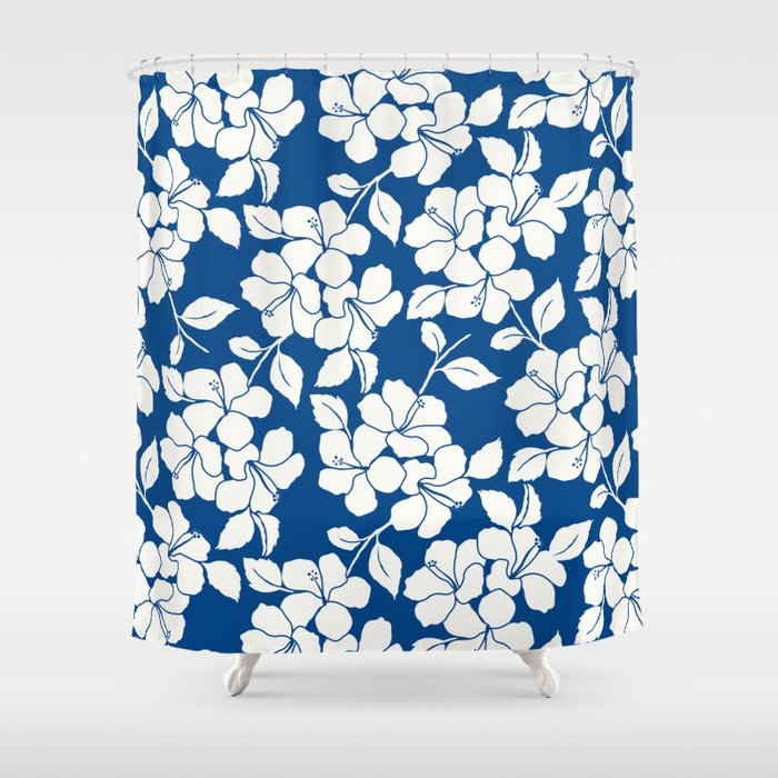 Hibiscus Floral Marine Blue Shower Curtain By Eileen Paulino Society6