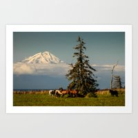 Horses And Mount Redoubt… Art Print