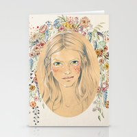 Girl with flower frame Stationery Cards