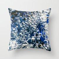 Blue Bubbles Macro Photo… Throw Pillow
