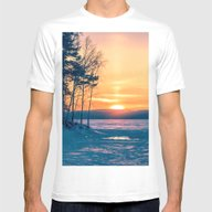Winter Sunset And The Su… Mens Fitted Tee White SMALL