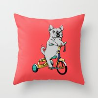 Frenchie Ride Throw Pillow