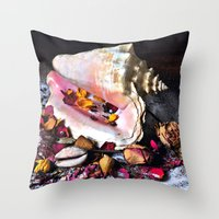 Maritime Symphony  with Sea Shells and Roses Throw Pillow