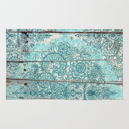 Teal & Aqua Botanical Doodle On Weathered Wood Rug By