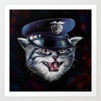 Police Cat Art Print