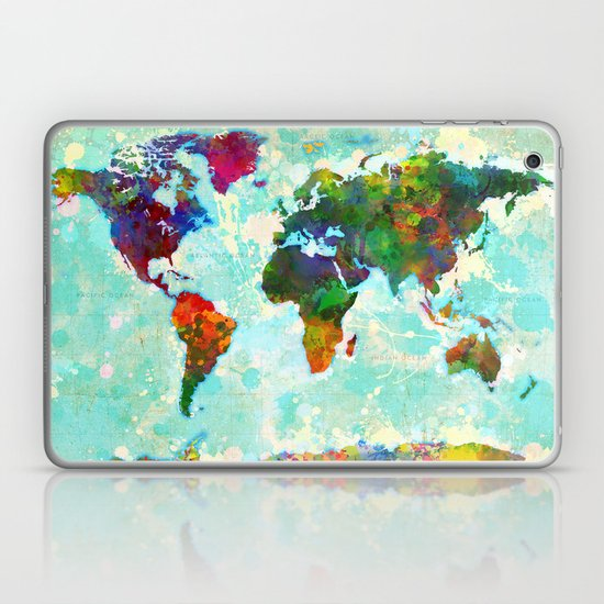 Abstract Watercolor World Map Laptop & iPad Skin