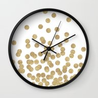 Gold Glitter Dots In Sca… Wall Clock