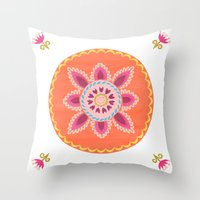 Suzani inspired floral 1 Throw Pillow