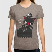Cat In Platform Shoe Womens Fitted Tee Tri-Coffee SMALL