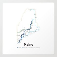 Highways of the USA – Maine Art Print