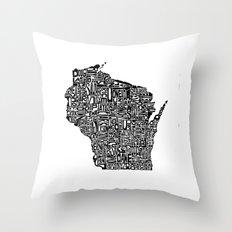 Typographic Wisconsin Throw Pillow