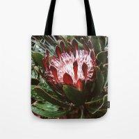 Protea And Raindrops  Tote Bag