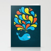 Dark Colorful Happy Cartoon Whale Stationery Cards