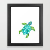 Watercolor Sea Turtle Framed Art Print