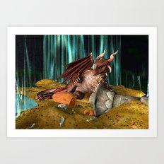 3D Illustration Dragon Treasure Art Print