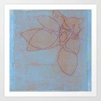 Leaves in Blue II Art Print