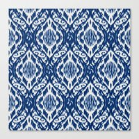 Damask Ikat: Navy And Of… Canvas Print