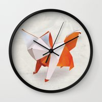 Origami Fox Wall Clock