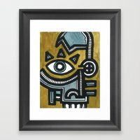 Blue And Gold Face Framed Art Print
