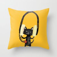 I Love Huge Headphone Throw Pillow