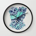 Owls - Turquoise & Navy Wall Clock