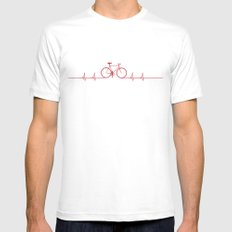 Bike Beat SMALL White Mens Fitted Tee