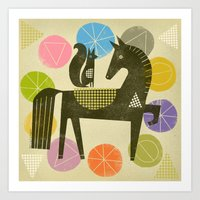 HORSE AND RIDER Art Print
