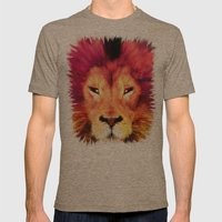 BIG CAT LION Mens Fitted Tee Tri-Coffee SMALL