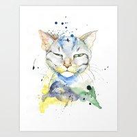 Suspicious Cat Art Print