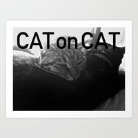 Cat on Cat Art Print