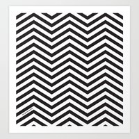 Black and white chevrons Art Print