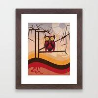 Red Owl at Dusk Framed Art Print