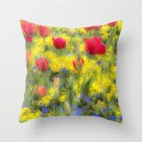 Summer Flowers Art Throw Pillow