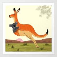 The Kangaroo and The Koala Art Print